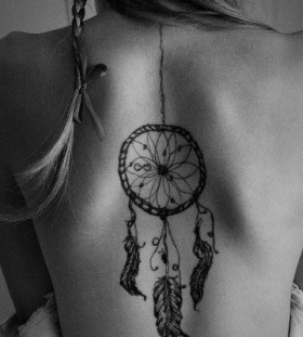 Black feather and dreamcatcher tattoo