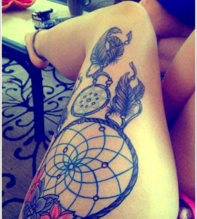 Lovely legs dreamcatcher tattoo