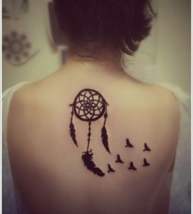 Pretty black dreamcatcher tattoo