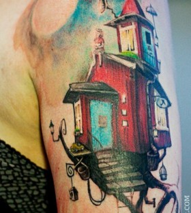Red and black house tattoo