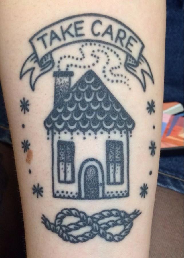 Simple black house tattoo for Minimalist house tattoo