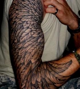 Stron men angel tattoo on shoulder