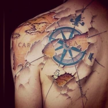 World Map And Compass Tattoo On Back Tattoomagz