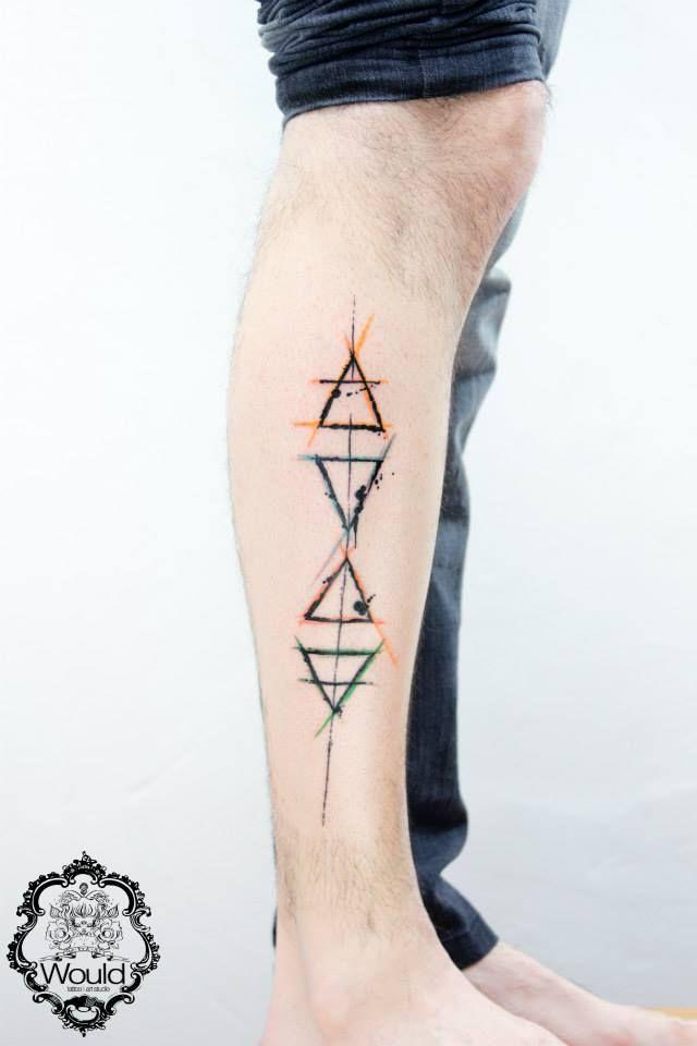 Cute ornaments geometric tattoo on leg - TattooMagz