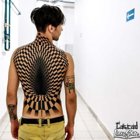 3D checkered portal on back tattoo