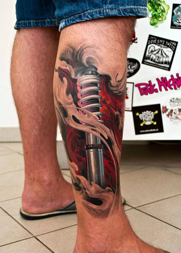 3D robot effect on leg tattoo