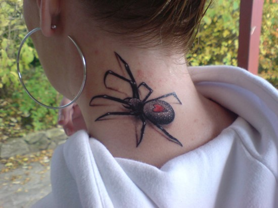 3D spider on neck tattoo