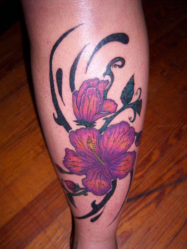 Mens Polynesian Tribal Hibiscus Flower Sleeve Tattoo