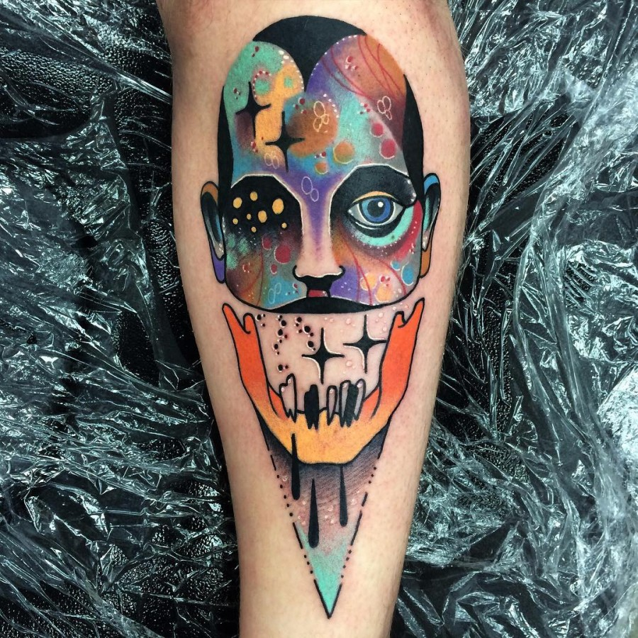 abstract portrait tattoo by littleandytattoo