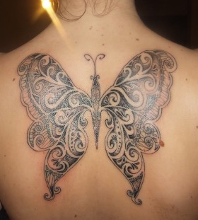 Amazing butterfly lace tattoo