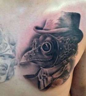 Awesome chest tattoo by Razvan Popescu