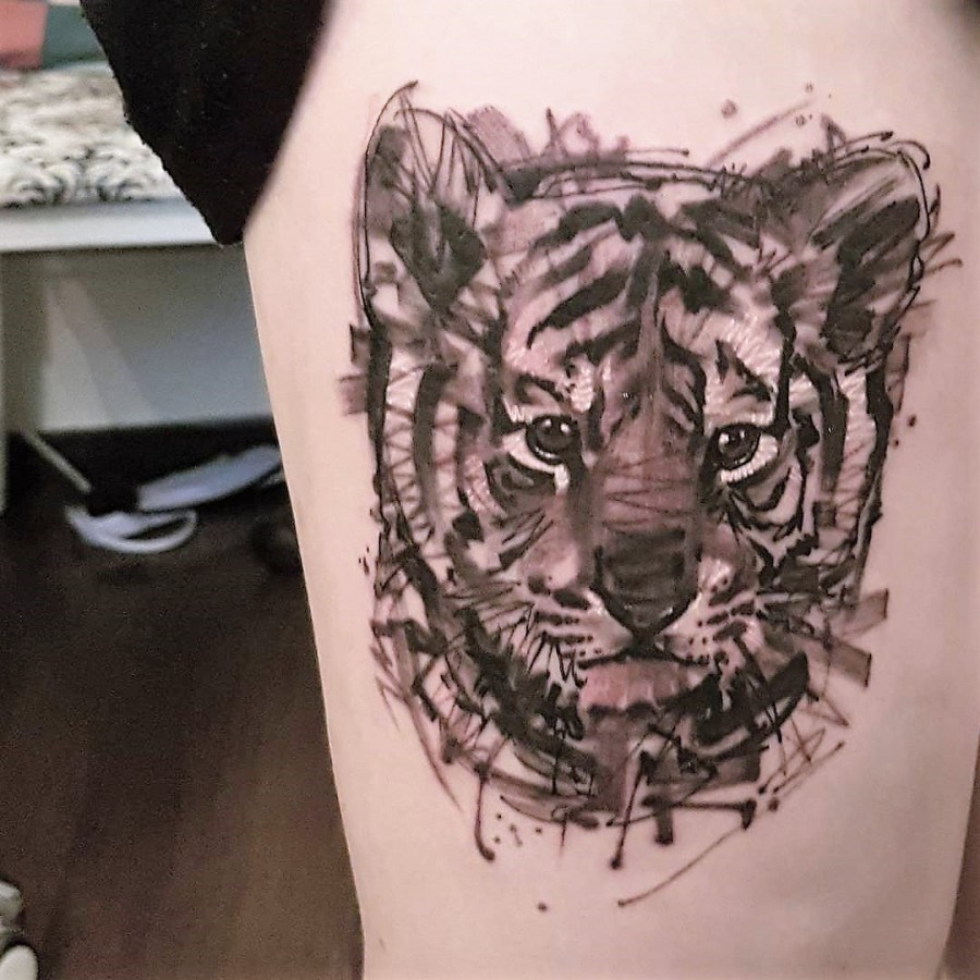 baby tiger sketch style tattoo by ael lim- ingapore
