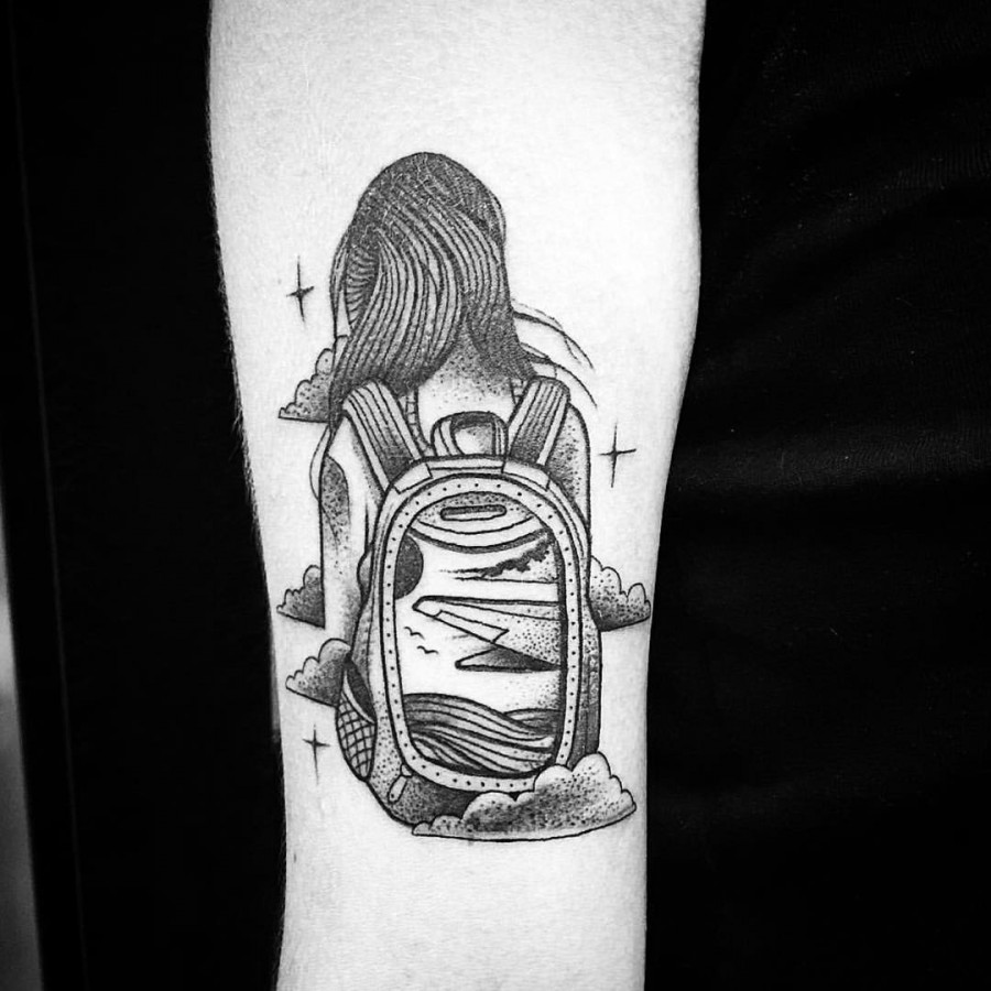 backpacker tattoo by bombayfoor