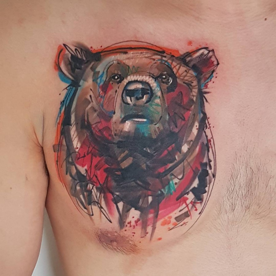 bear sketch style tattoo by ael lim singapore