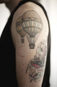 Beautiful air balloons tattoo by W. T. Norbert