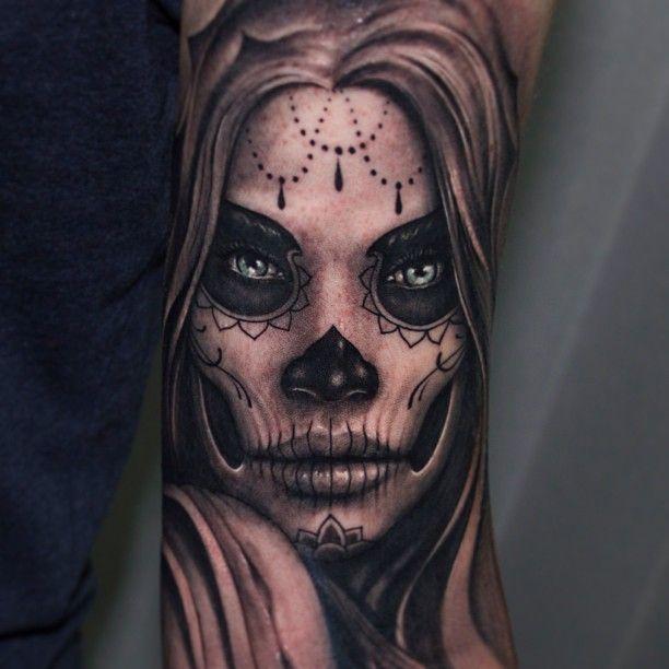Sugar Skull Tattoos Design idea for girls - Tattoos Art Ideas