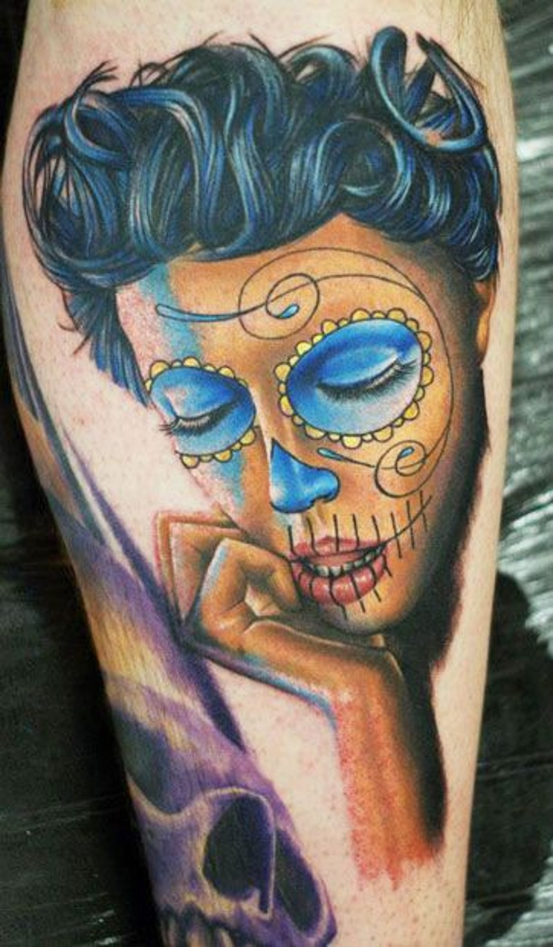 Santa Muerte tattoo with blue eyes
