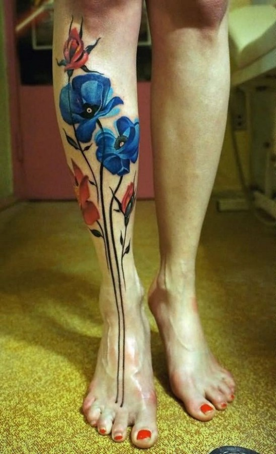 blue poppy tattoo