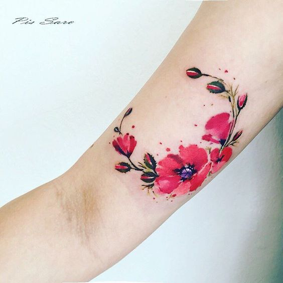bright red poppy tattoo