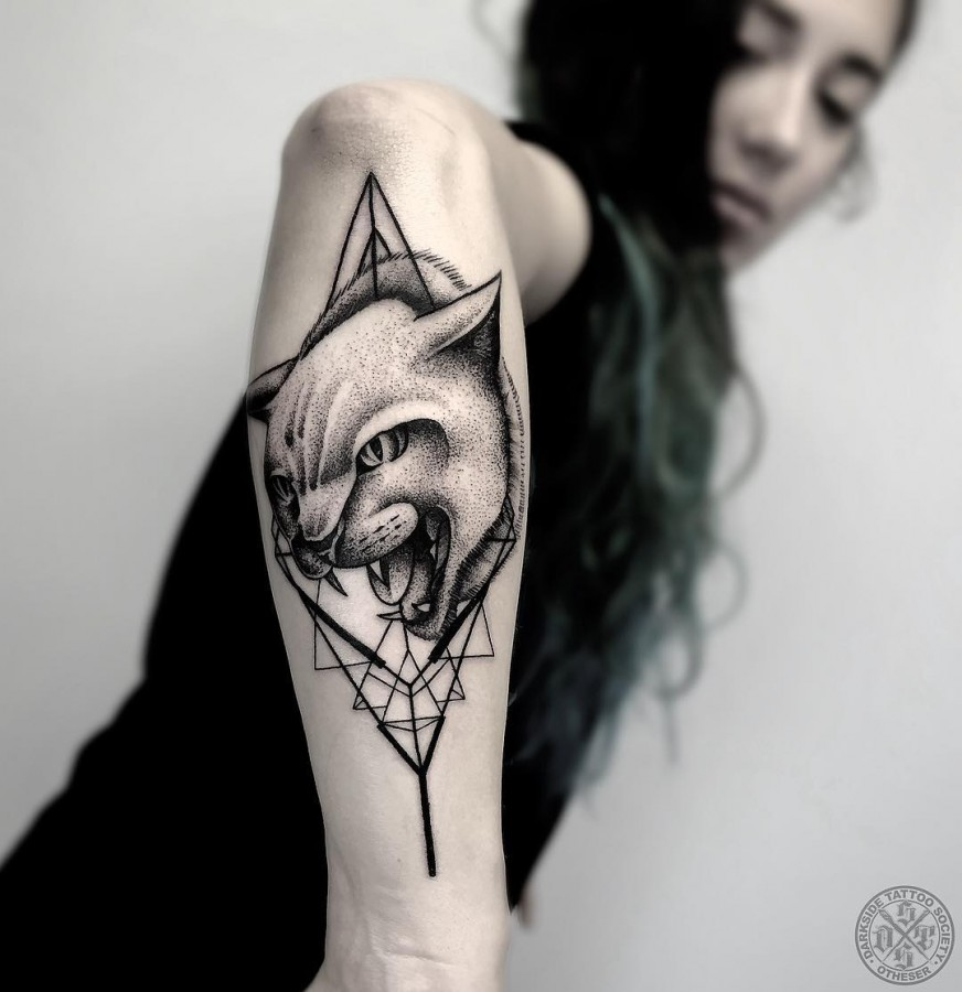 cat tattoo by black geometry