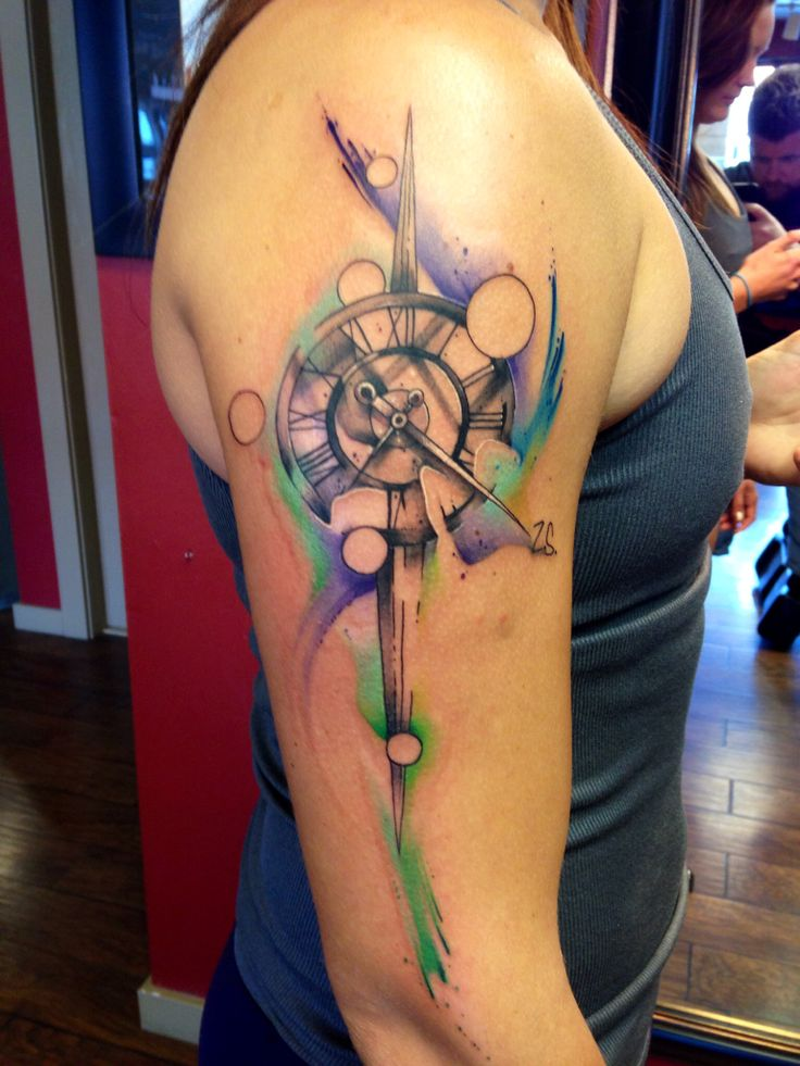 Clock watercolor tattoo. By Justin Nordine
