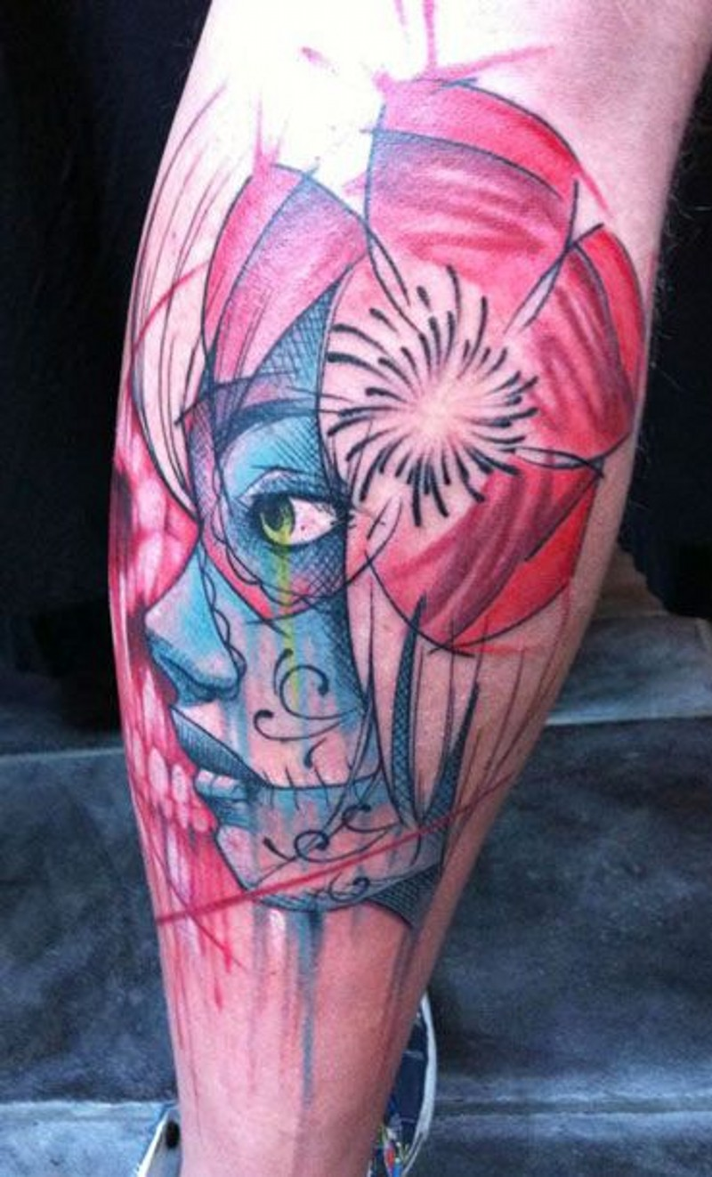 Santa Muerte tattoo cartoon design