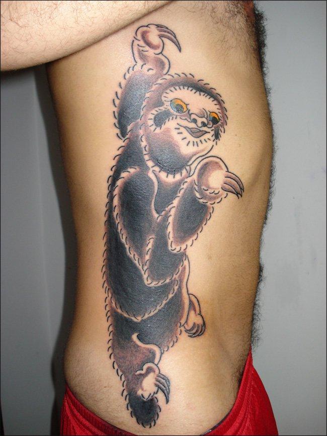 coloured sloth side tattoo. Black Bedroom Furniture Sets. Home Design Ideas
