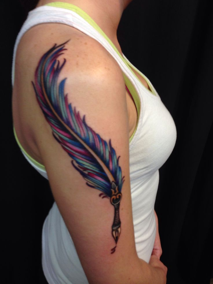 Colourful feather pen tattoojpg