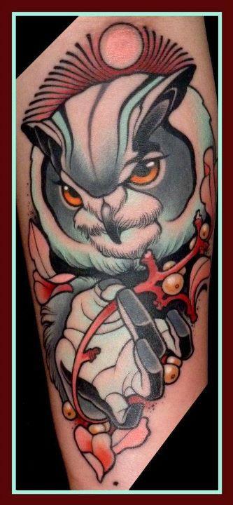 cool owl tattoo by lars uwe jensen tattoomagz