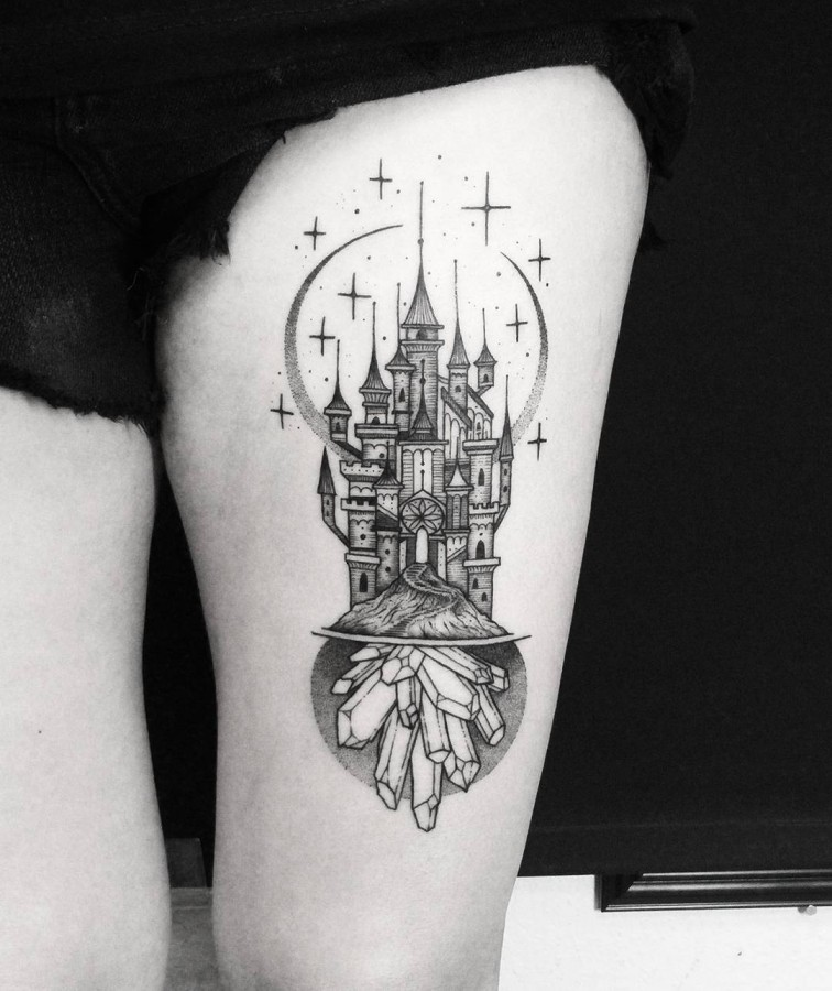 crystal castle tattoo by thomasetattoos