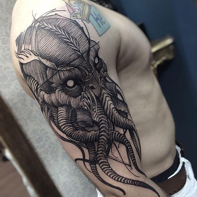 cthulho sketch style tattoo by fredao oliveira