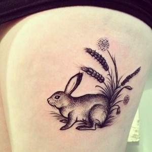 Cute rabbit tattoo by Rebecca Vincent