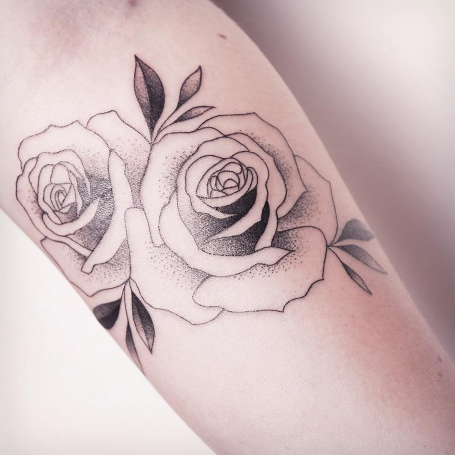 dotwork rose tattoo by xoxotattoo
