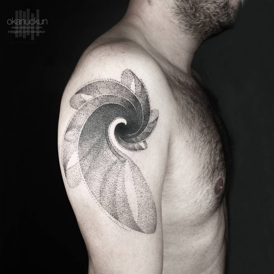 dotwork shell tattoo by okanuckun