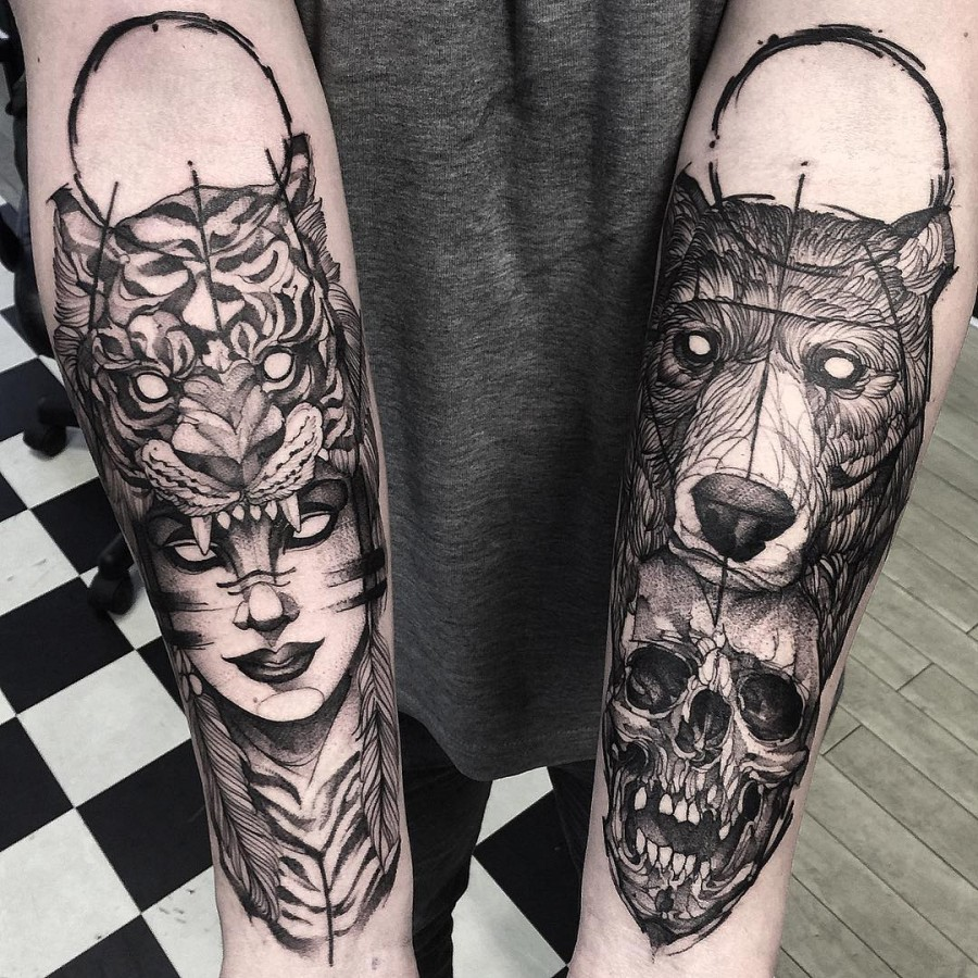 double sketch style arm sleeve tattoo by fredao oliveira