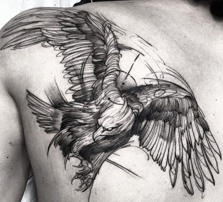 Eagle Tattoo Line Drawing : Perfectly imperfect sketch style tattoos tattoomagz