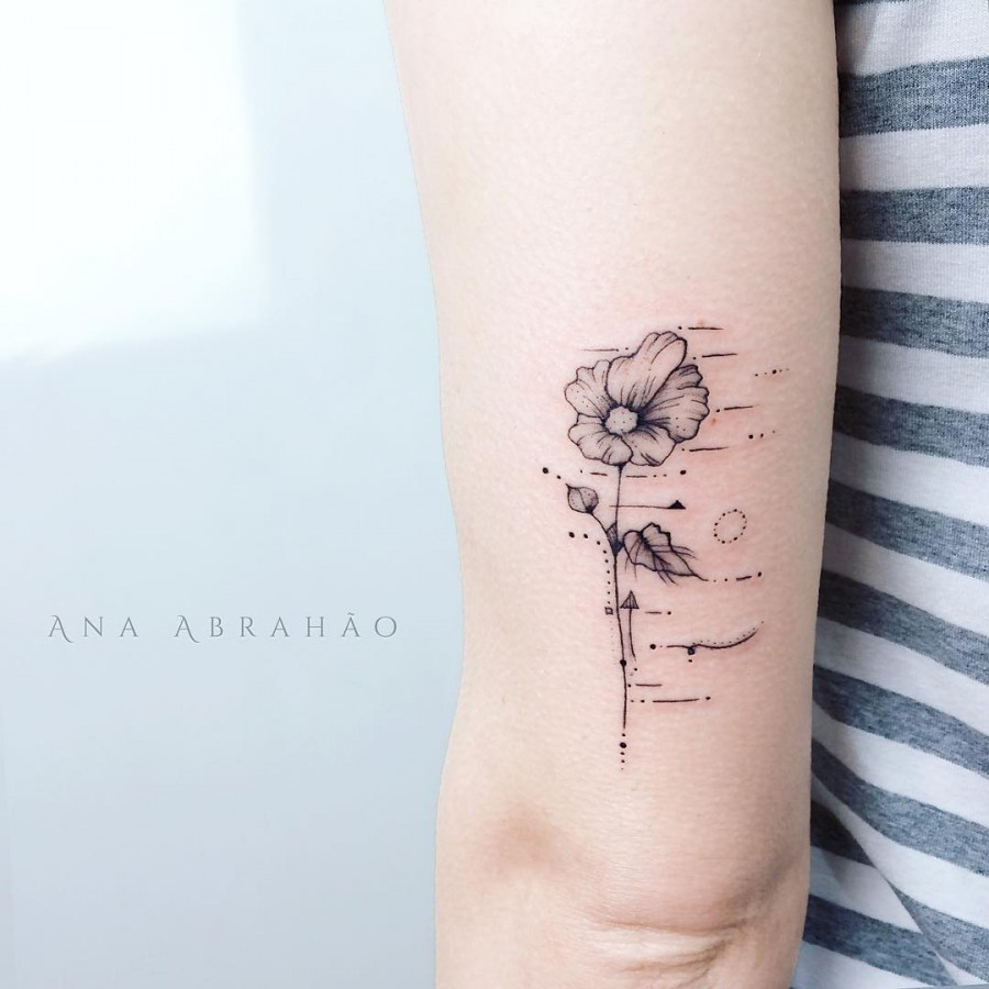 flower blowing in the wind tattoo by abrahaoana