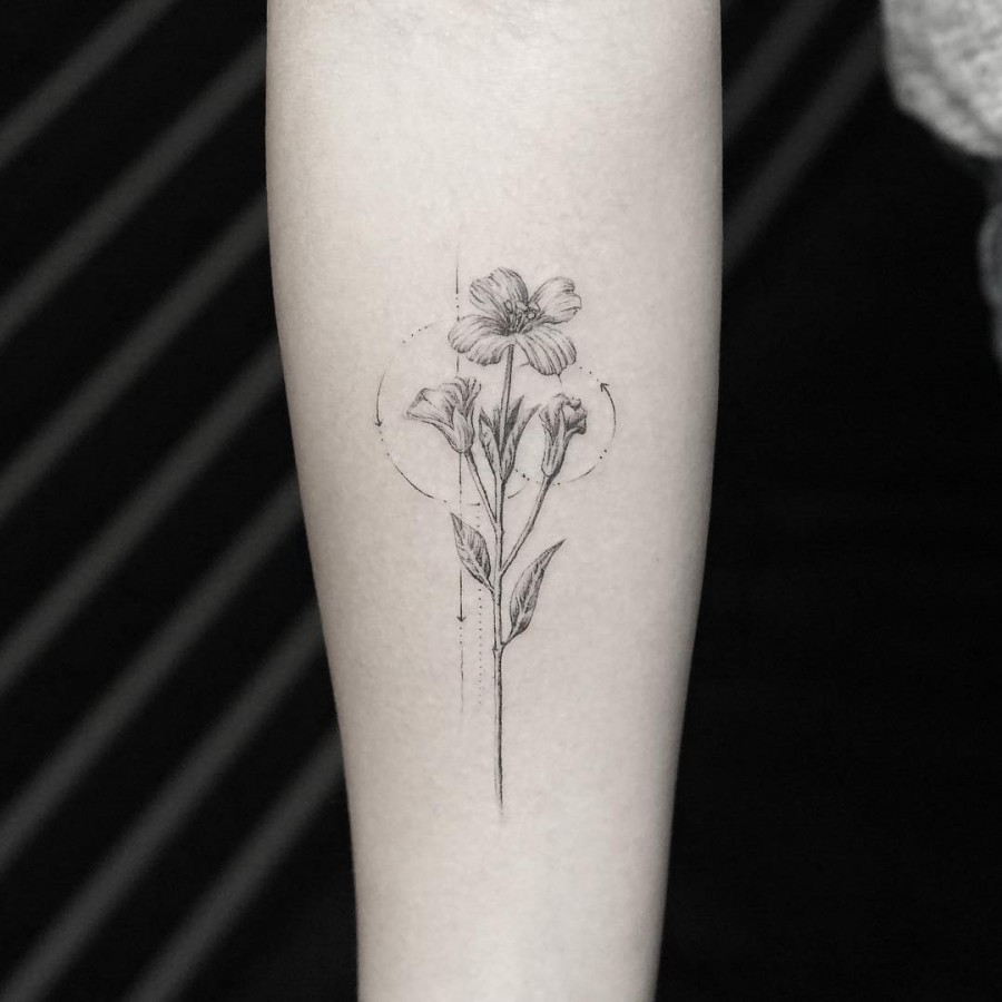 Black And White Plant Tattoo