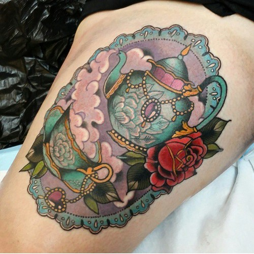 Framed teapot and rose tattoo - TattooMagz