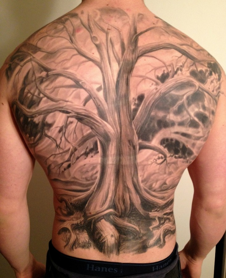 full back tree tattoo by phil garcia. Black Bedroom Furniture Sets. Home Design Ideas