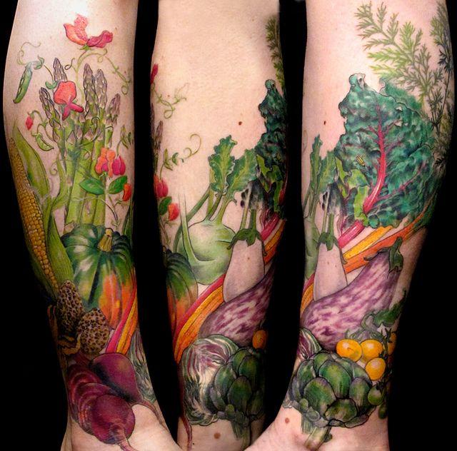 Full leg's vegetable's food tattoo - TattooMagz