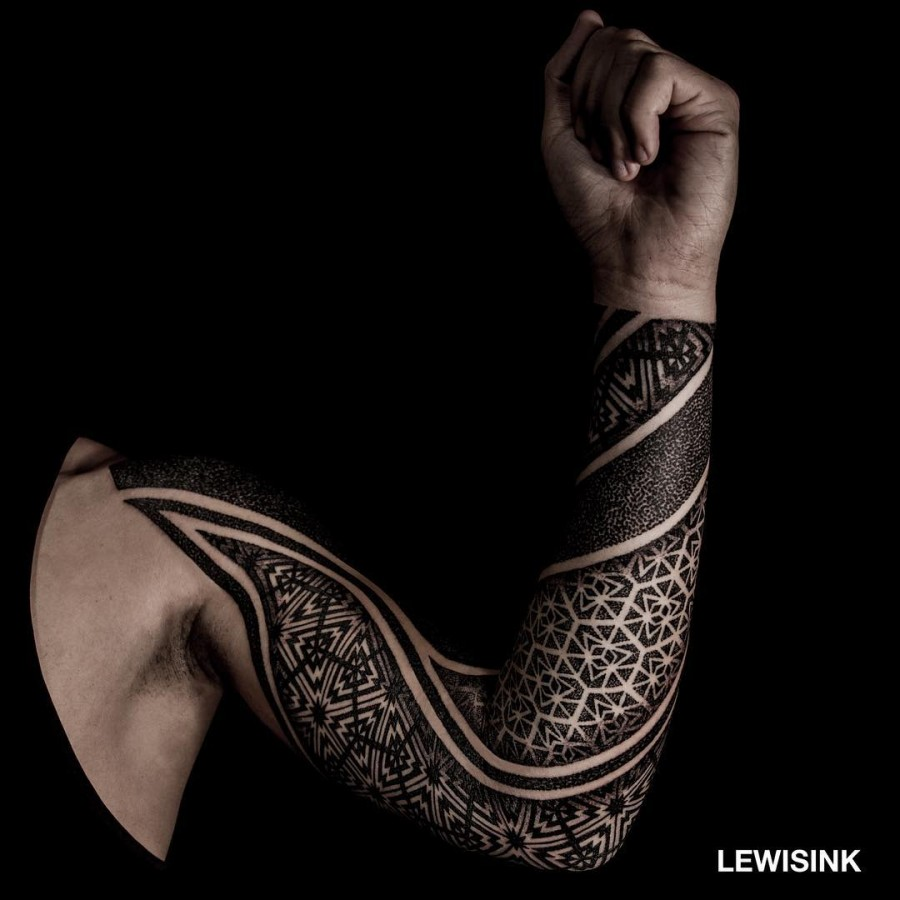 full sleeve geometric tattoo by lewisink