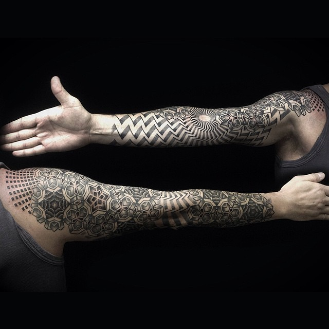 geometric full sleeve tattoo by ivan_hack