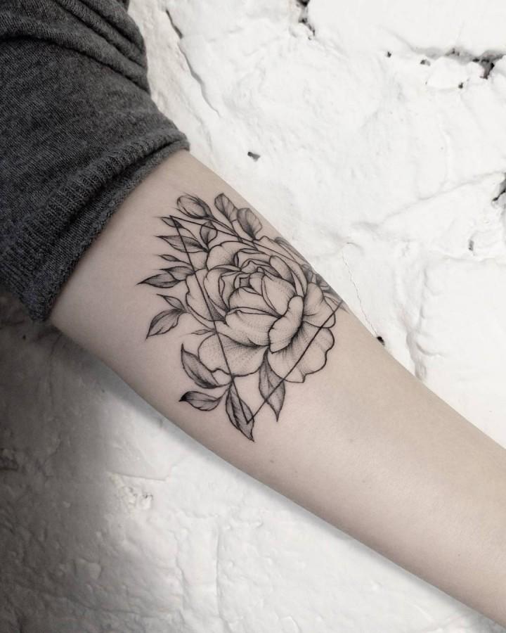geometric peony tattoo by dasha_sumtattoo