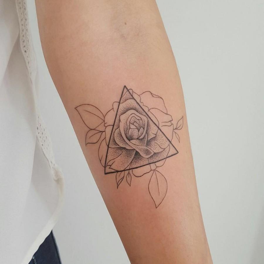 geometric rose tattoo by modificart_