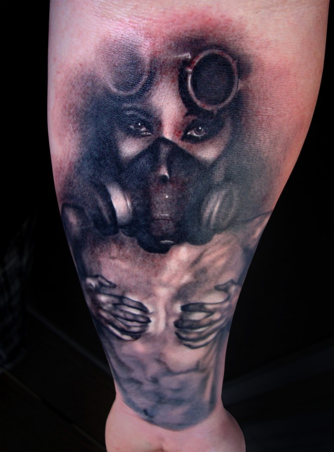 Girl With Gas Mask Tattoo