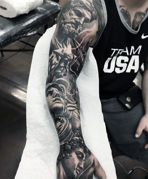 Gods statues full sleeve tattoos for men