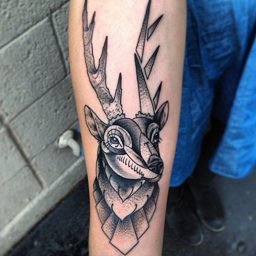Grey Ink Geometric Deer Tattoo
