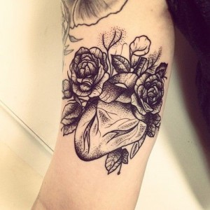 Heart and roses tattoo by Rebecca Vincent