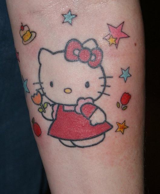 Tribal Hello Kitty: Hello Kitty And Stars Tattoo